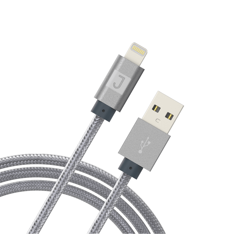 Juku Charge & Sync Lightning XL Cable - 3 M, Braided, 2.4A - سلك شحن - جوكو - طول 3 متر - كفالة 24 شهر
