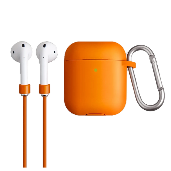 Uniq Vencer Protective Silicone Case With Sports Strap and Earbud Covers for Airpods - Orange - كفر حماية ايربودز - يونيك - مع خيط علاقة