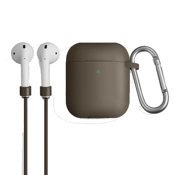 Uniq Vencer Protective Silicone Case With Sports Strap and Earbud Covers for Airpods - Dark Sand Beige - كفر حماية ايربودز - يونيك - مع خيط علاقة