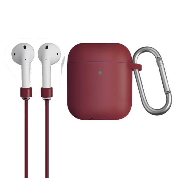 Uniq Vencer Protective Silicone Case With Sports Strap and Earbud Covers for Airpods - Maroon - كفر حماية ايربودز - يونيك - مع خيط علاقة