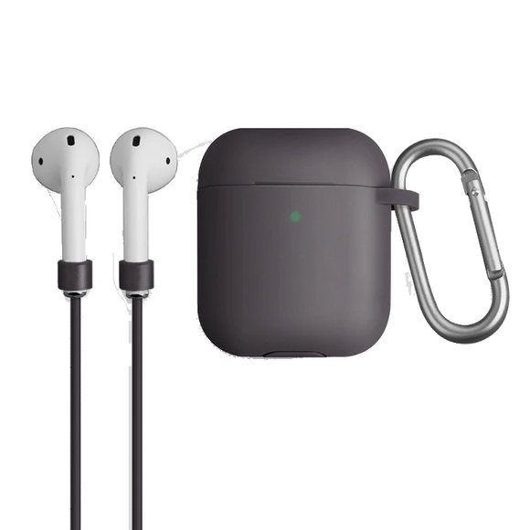Uniq Vencer Protective Silicone Case With Sports Strap and Earbud Covers for Airpods - Grey - كفر حماية ايربودز - يونيك - مع خيط علاقة