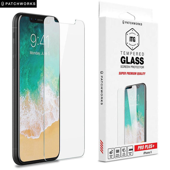 Patchworks ITG Pro Plus Glass Screen Protector For iPhone X - Clear - شاشة حماية ايفون اكس \ اكس - شفافة