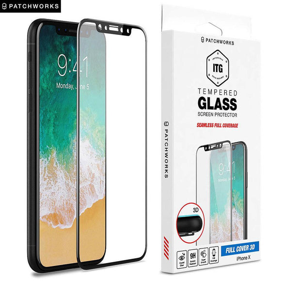 Patchworks ITG 3D Full Cover Glass Screen Protector For iPhone X - Black Frame - شاشة حماية ايفون اكس لجميع اطراف الجهاز