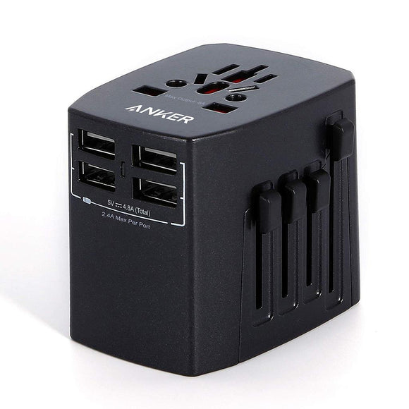 Anker Universal Travel Adapter With 4USB Ports - Black - [18 Month Warranty] - بلاك حائط دولي السفر من انكر - 4 مخارج
