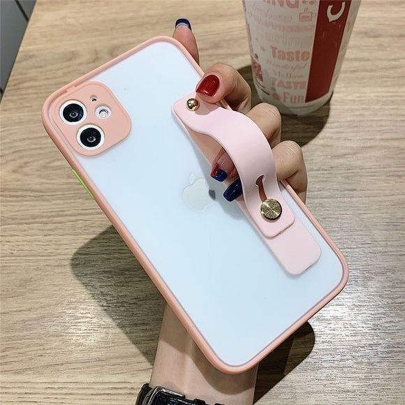 Pink Transparent Matte Phone Case with Wrist Strap - كفر مع مسكة شريطة
