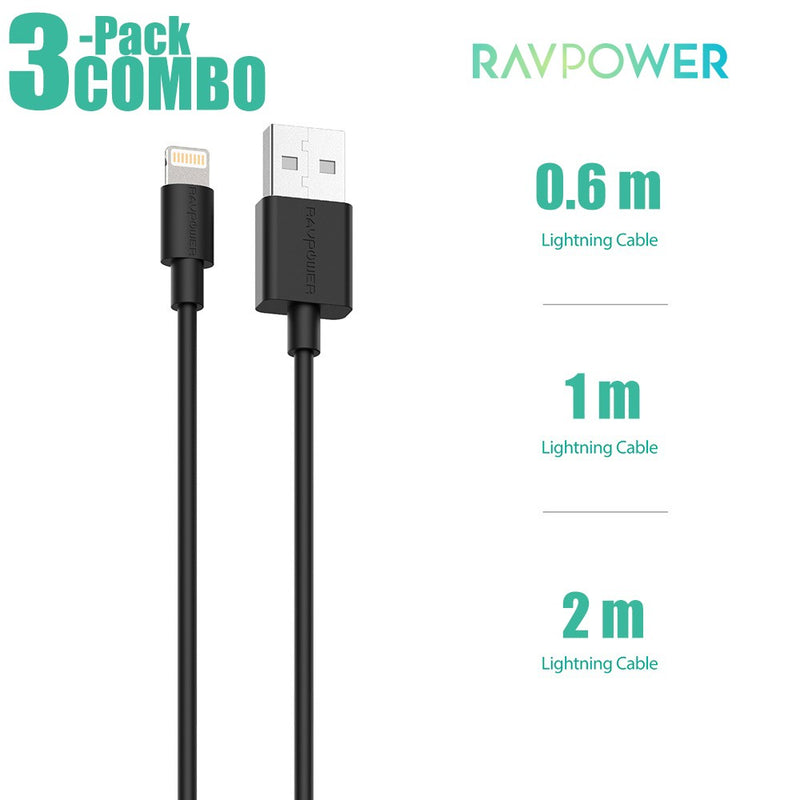 RAVPower Lightning Cable COMBO [3-Pack] Charge & Sync (0.6m+1m+2m)  - مجموعة 3 كيابل شحن ايفون - راف باور - طول 60 - 100 - 200 سم - كفالة 18 شهر