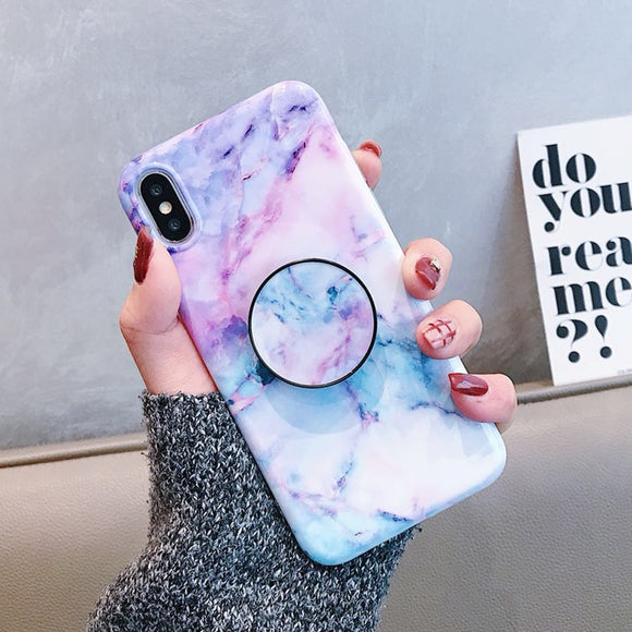 Blue Pink Marble Glaze Case with POP Grip - كفر مع مسكة دائرية