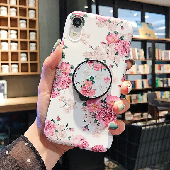 Flower Leaves Holder Phone Case With Grip - T1 - كفر مع مسكة دائرية