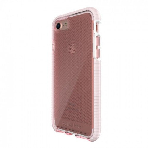 Tech21 Evo Check Case for iPhone 7/8 - (Light Rose/White) - كفر حماية عالية