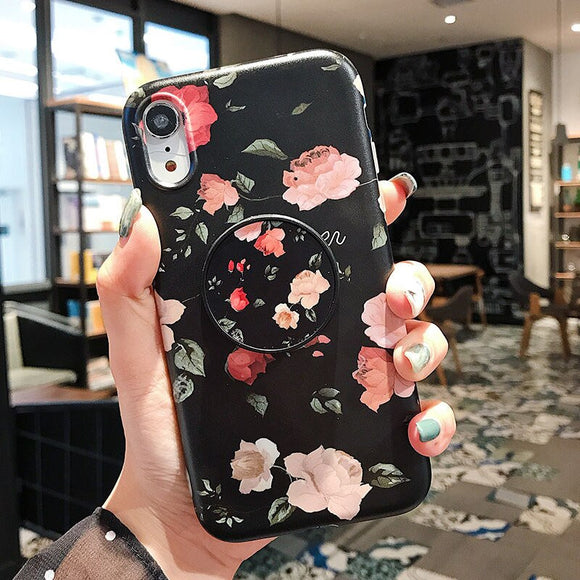 Flower Leaves Holder Phone Case With Grip - T2 - كفر مع مسكة دائرية
