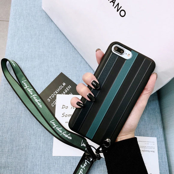Green and Dark Case with Lanyard - كفر مع خيط علاقة