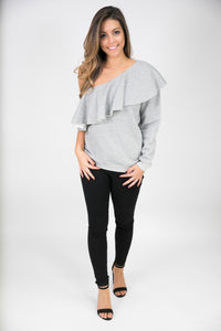 SINGLE SLEEVE SWEATSHIRT WITH RUFFLE