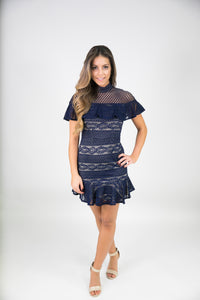 PLEATED LACE BODYCON DRESS