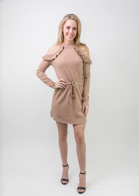 COZY WAIST TIE LONG SLEEVE DRESS