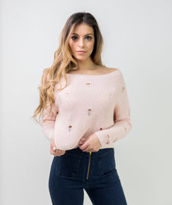 DISTRESSED OFF SHOULDER SWEATER