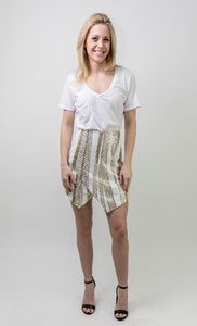 ASYMMETRICAL SEQUIN SKIRT