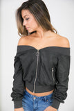 OFF SHOULDER BOMBER JACKET