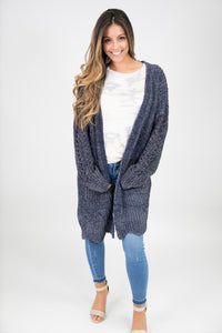 CHENILLE SCALLOPED HEM CARDIGAN