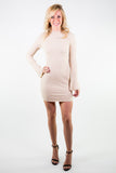 RIBBED KNIT BODYCON DRESS WITH BELL SLEEVES