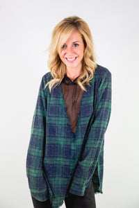 HOODED MESH V-NECK FLANNEL