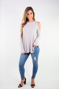 THERMAL COLD SHOULDER LONG SLEEVE TOP