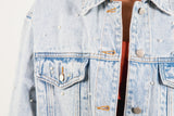 PEARL DISTRESSED DENIM JACKET