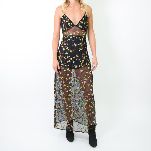SHEER FLORAL EMBROIDERED MAXI DRESS