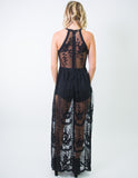 SHEER HALTER MAXI DRESS