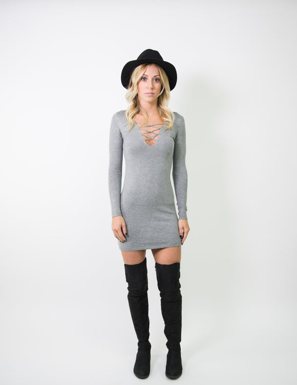 LONG SLEEVE BODYCON DRESS WITH LACE UP DETAIL