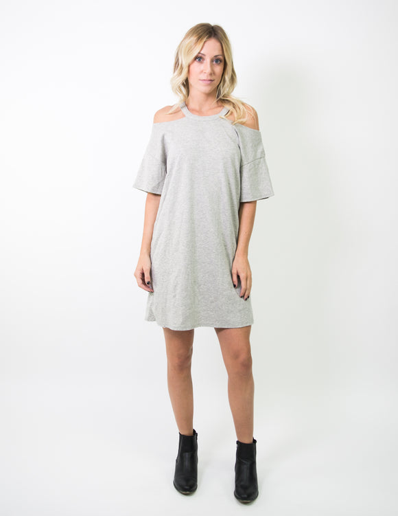DISTRESSED OFF SHOULDER TEE DRESS