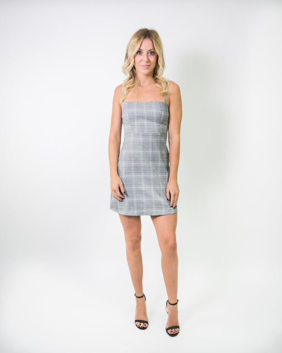 PLAID SPAGHETTI STRAP DRESS