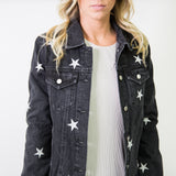 DENIM JACKET WITH STAR EMBROIDERY