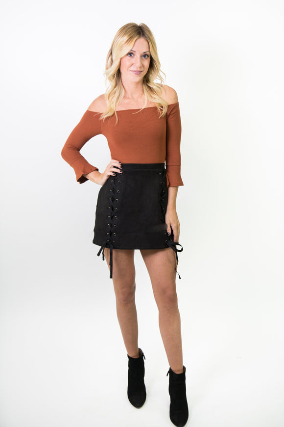 FRONT DOUBLE LACE UP SUEDE SKIRT