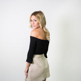 BELL SLEEVE OFF SHOULDER 3/4 SLEEVE BODYSUIT