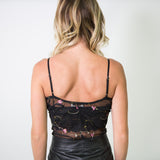 SHEER BODYSUIT WITH SMALL FLORAL EMBROIDERY
