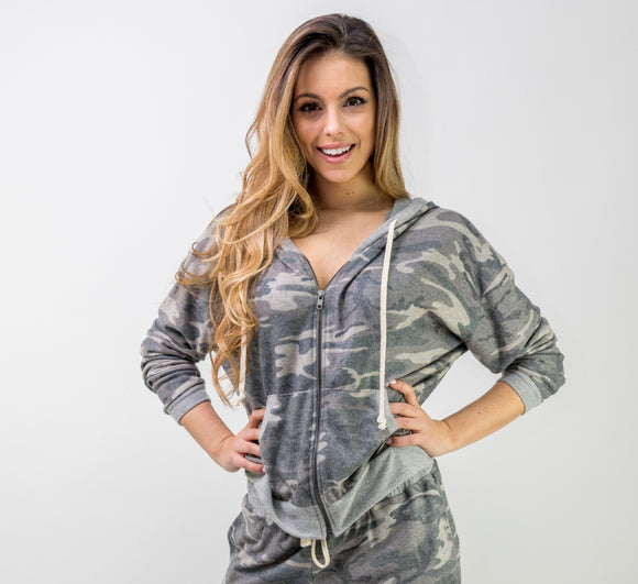 SUPER SOFT CAMO HOODIE ZIP-UP