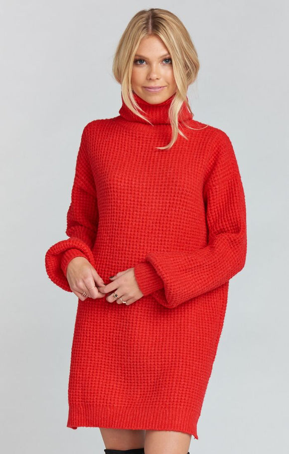 HOLLY RED CHESTER SWEATER DRESS