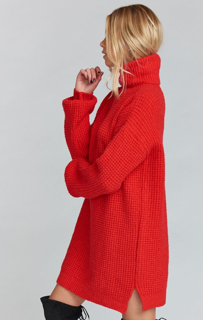 HOLLY RED CHESTER SWEATER DRESS – Haute Rebel 8ff7550d2