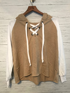 HUTTON LACE UP SWEATER