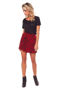 LEOPARD PRINTED MINI SKIRT WITH RUFFLE DETAIL