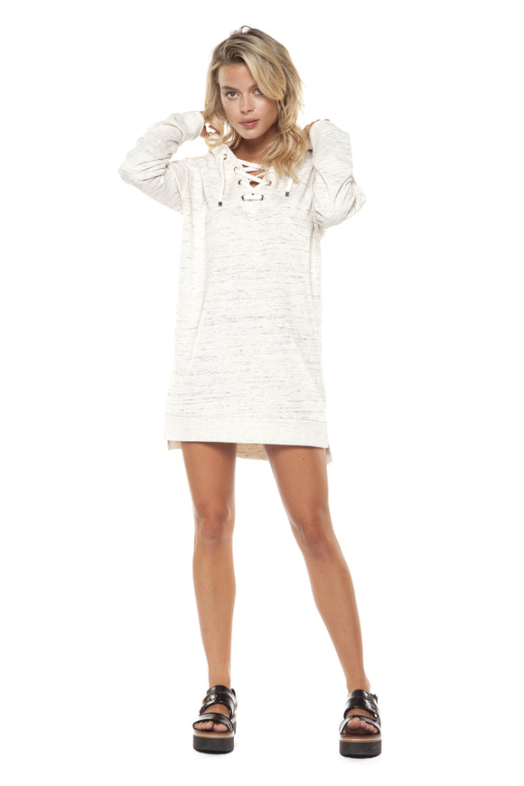 LACE-UP HOODIE TUNIC DRESS
