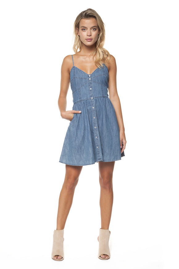 SWEETHEART BUTTON DENIM DRESS