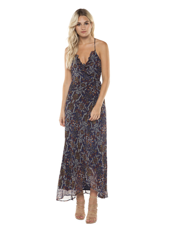 TAPESTRY WRAP MAXI DRESS