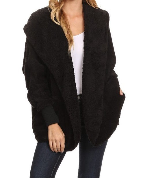 HOODED BEAR COAT - BLACK