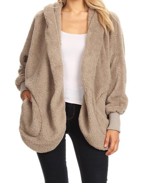 HOODED BEAR COAT - TAUPE