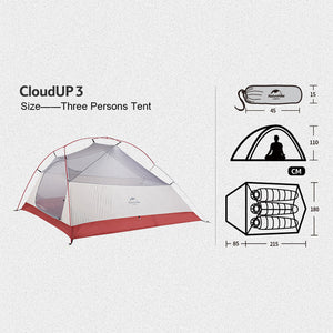 Naturehike Cloud Up 3P 20D 2018 Upgraded NH18T030-T
