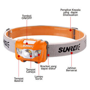 Sunrei Headlamp / Lampu Kepala Youdo 2S (Black) 190 LUMENS - Hike n Run