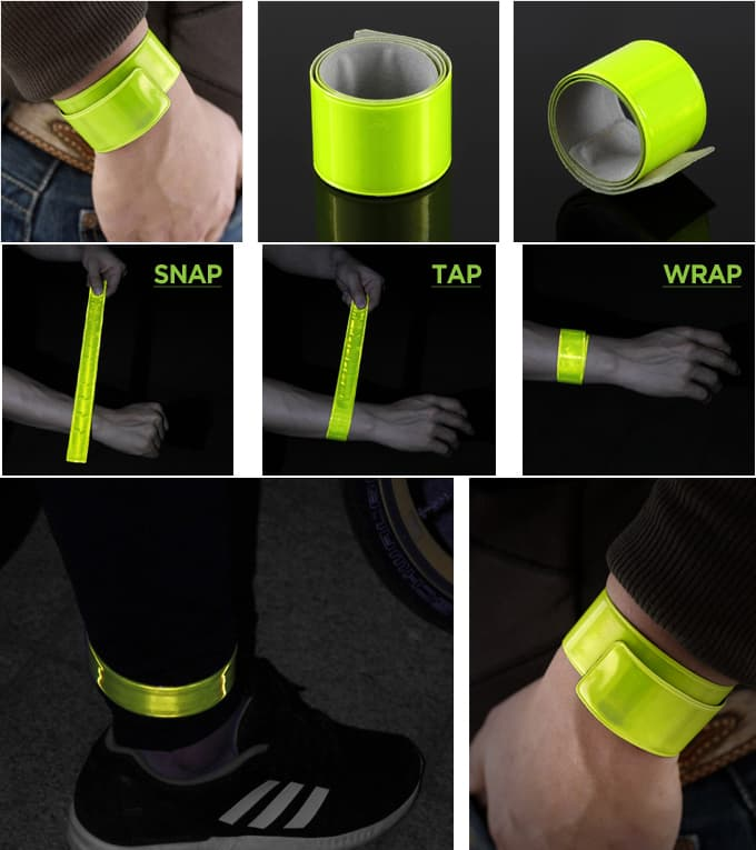 Salzmann 3M Reflective Running Sport Arm Leg Snap Band 3X38 Yellow