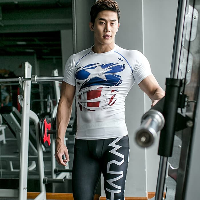 Compression Sport Tshirt Superhero Fitness Running - Captain America - Putih