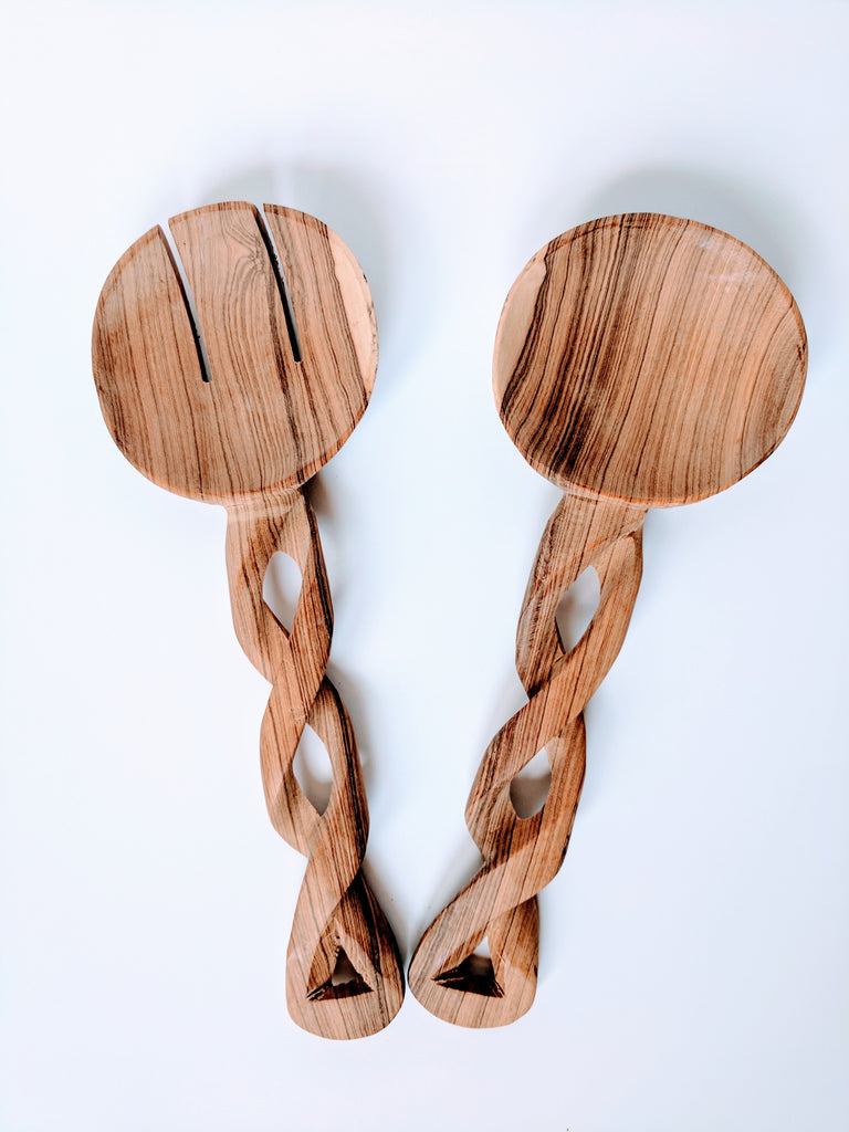 Serving Spoon Set With Twisted Handles